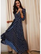 PolkaDot A-line 3/4 Sleeves Maxi Elegant Skater Dresses