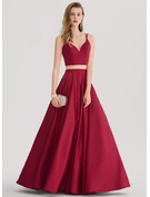 Ball-Gown/Princess Sweetheart Floor-Length Satin Prom Dresses