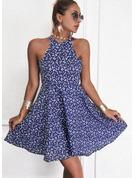 Blumen Druck A-Linien-Kleid Ärmellos Mini Lässige Kleidung Skater Modekleider