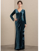 A-Line V-neck Floor-Length Velvet Mother of the Bride Dress With Beading Sequins Cascading Ruffles