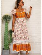 Floral Impresión Vestidos sueltos Manga Corta Maxi Boho Casual Vacaciones Vestidos de moda