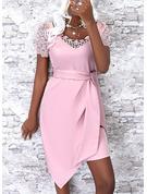 Sólido Cubierta Manga Corta Mini Elegante Vestidos de moda