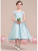 A-Line Tea-length Flower Girl Dress - Satin Sleeveless Off-the-Shoulder
