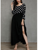 PolkaDot Shift Long Sleeves Maxi Casual Dresses