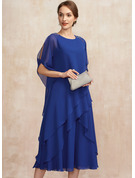 A-Line Scoop Neck Tea-Length Chiffon Mother of the Bride Dress With Beading Sequins Cascading Ruffles