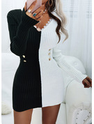 Color Block Lace Bodycon Long Sleeves Mini Casual Dresses