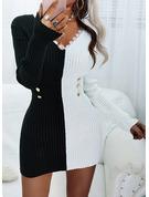 Renkli klişe Dantel Conică Mâneci Lungi Mini gündelik Moda Elbiseler