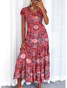 Print Kjole med A-linje Korte ærmer Maxi Boho Casual Ferie skater Mode kjoler