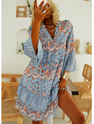Floral Print Shift Long Sleeves Mini Casual Tunic Dresses