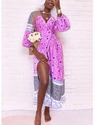 Blommig Print A-linjeklänning Långa ärmar Midi Boho Fritids Semester skater Bolerojackor Modeklänningar