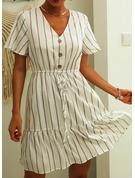 raya Vestido línea A Manga Corta Mini Casual Patinador Vestidos de moda