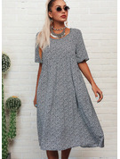 Tisk Šaty Shift Krátké rukávy Midi Neformální tričko Módní šaty