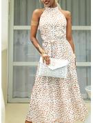 Imprimeu Bir Çizgi Kolsuz Maxi gündelik Zarif Patenci Moda Elbiseler