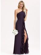 A-Linie Eine Schulter Bodenlang Chiffon Brautjungfernkleid mit Schlitz Vorn Gestufte Rüschen