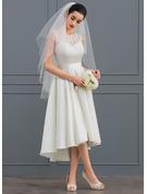 A-Line Illusion Asymmetrical Satin Lace Wedding Dress