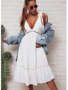Blonder Solid Kjole med A-linje Ærmeløs Midi Casual skater Mode kjoler
