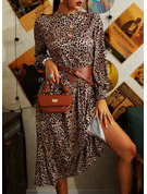 Leopard A-line Long Sleeves Midi Casual Skater Dresses
