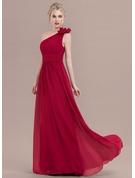 Forme Princesse Seule-épaule Longueur ras du sol Mousseline Robe de soirée avec Plissé Fleur(s)