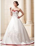 Balo Elbisesi Sweetheart Şapel Kuyruk Saten Gelinlik Ile Nakışlı Kuşaklar boncuklu kısım Payetler