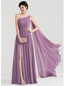 A-Line/Princess One-Shoulder Floor-Length Chiffon Evening Dress With Ruffle Split Front