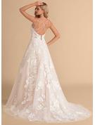 Balklänning/Prinsessa V-ringning Court släp Tyll Spets Bröllopsklänning med Beading Fickor