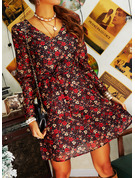 Floral Print A-line Long Sleeves Mini Casual Elegant Skater Wrap Dresses