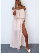 Einfarbig A-Linien-Kleid Lange Ärmel Maxi Lässige Kleidung Urlaub Skater Modekleider