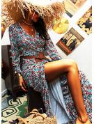 Распечатать ножны Длинные рукова Макси Boho Повседневная Модные платья