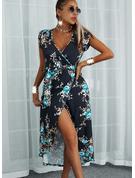 Floral Print A-line Cap Sleeve Asymmetrical Casual Vacation Skater Wrap Dresses