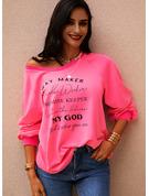 Druck Zugeschnitten Lange Ärmel Lässige Kleidung T-shirt Modekleider