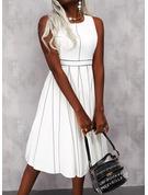 Print Stribe Kjole med A-linje Ærmeløs Midi Elegant skater Mode kjoler