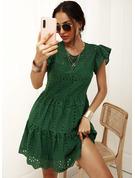 Solid Kjole med A-linje Korte ærmer Midi Casual skater Mode kjoler