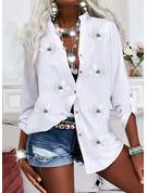 Blomster Print V-hals Lange ærmer Casual Shirt Skjorter