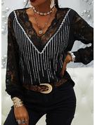 Spitze Pailletten V-Ausschnitt Lange Ärmel Elegant Blusen