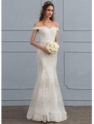 Trumpet/Sjöjungfru Off-shoulder Sweep släp Tyll Spets Bröllopsklänning med Paljetter