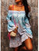 Print Shift Flare Sleeve Long Sleeves Mini Boho Casual Vacation Tunic Dresses