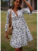 Print Skiftekjoler Flare-ærmer Lange ærmer Midi Casual Tunika Mode kjoler