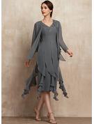 Платье-чехол V-образный асимметричный шифон Коктейльные Платье с развальцовка аппликации кружева блестки Ниспадающие оборки