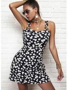 Kwiatowy Nadruk Pokrowiec Bez Rękawów Mini Nieformalny Modne Suknie