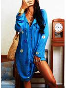 Blommig Print Shiftklänningar Långa ärmar Midi Fritids Tunika Modeklänningar