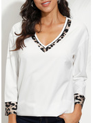 Leopard Patchwork Print V-Neck 3/4 Sleeves Casual