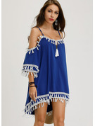 Lace Shift 3/4 Sleeves Cold Shoulder Sleeve Mini Casual Type Tunic Dresses