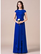 A-Line Scoop Neck Floor-Length Chiffon Lace Bridesmaid Dress With Bow(s) Cascading Ruffles