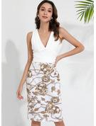 Fleurie Imprimé Moulante Sans Manches Midi Fête Robes tendance
