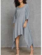 Solid Shift 3/4 Sleeves Asymmetrical Casual Tunic Dresses