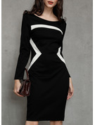 Color Block Sheath 3/4 Sleeves Midi Casual Dresses