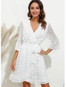 固体 シースドレス 3/4袖 ミニ カジュアル エレガント ラップ ファッションドレス
