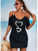 Impresión Corazón Cubierta Mangas 1/2 Mini Casual Vacaciones Vestidos de moda