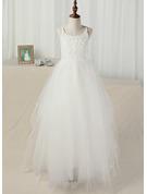 A-Line/Princess Floor-length Flower Girl Dress - Tulle/Lace Sleeveless Straps