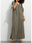 Lace Solid Shift 1/2 Sleeves Maxi Casual Tunic Dresses